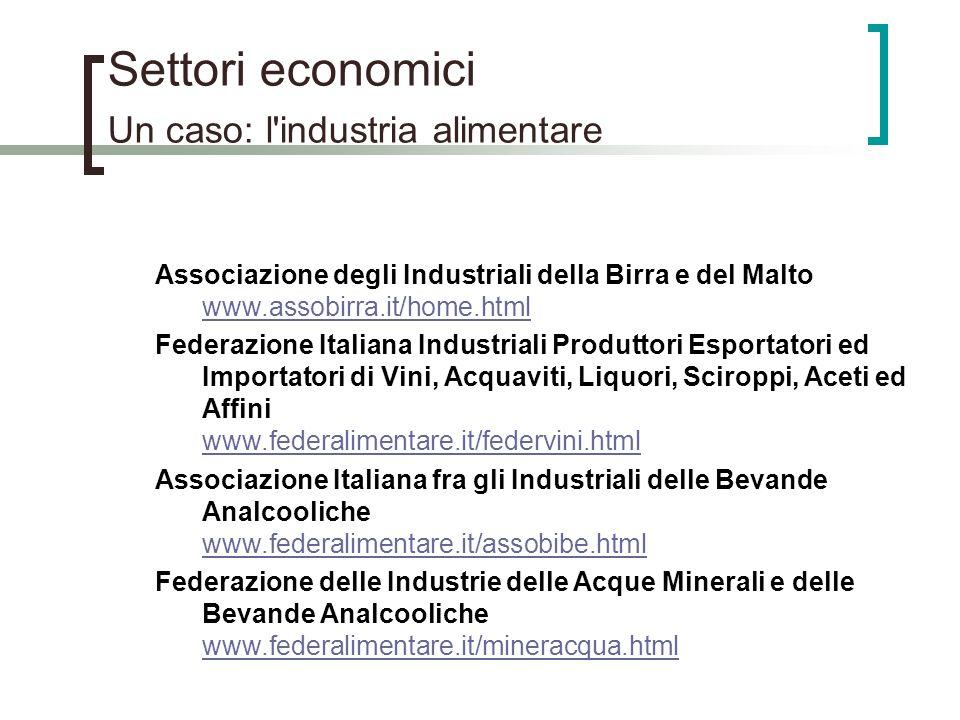 Settori economici Un caso: l'industria alimentare Associazione degli Industriali della Birra e del Malto www.assobirra.it/home.html www.assobirra.it/h