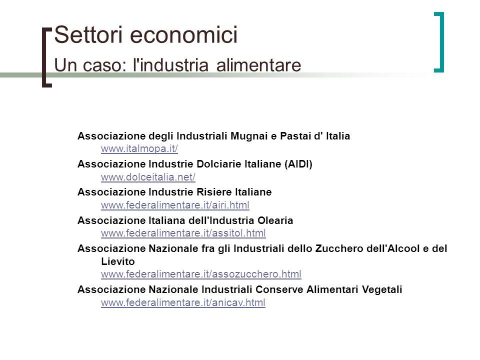 Settori economici Un caso: l'industria alimentare Associazione degli Industriali Mugnai e Pastai d' Italia www.italmopa.it/ www.italmopa.it/ Associazi