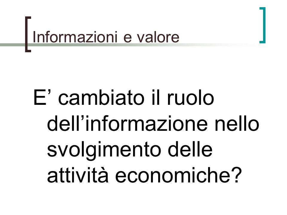 Informazioni e valore E cambiato il ruolo dellinformazione nello svolgimento delle attività economiche?