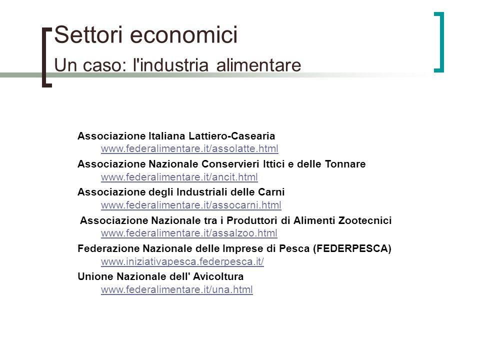 Settori economici Un caso: l'industria alimentare Associazione Italiana Lattiero-Casearia www.federalimentare.it/assolatte.html www.federalimentare.it