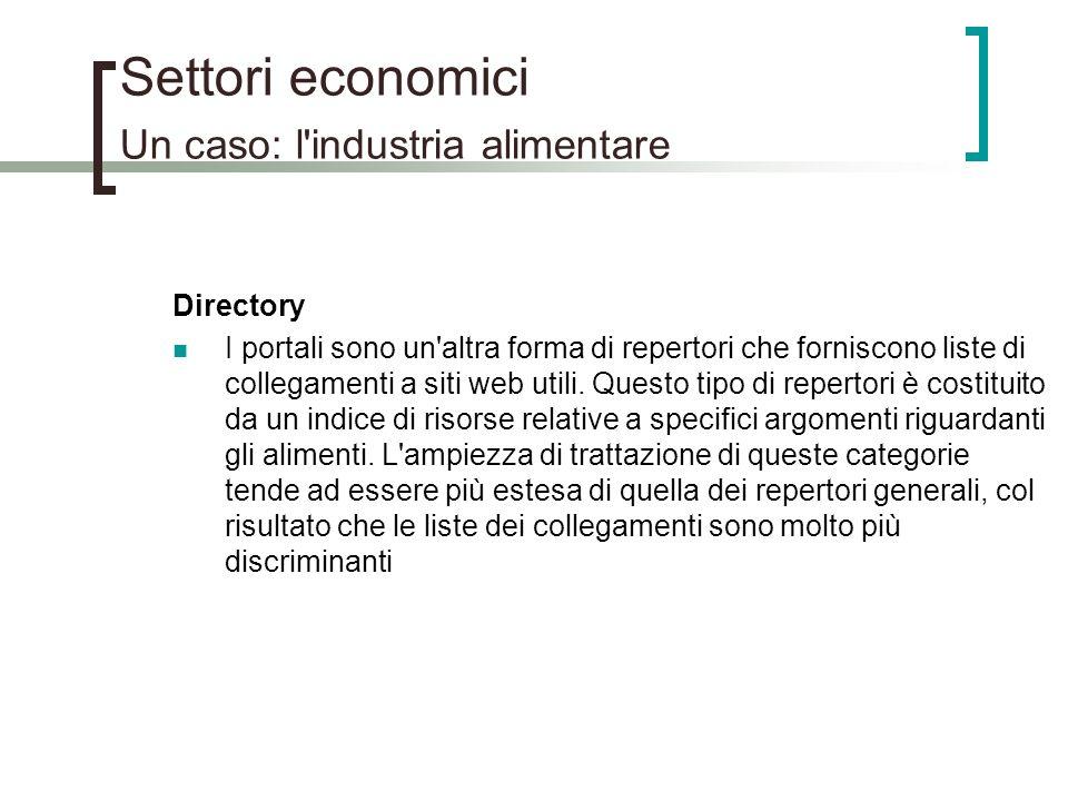 Settori economici Un caso: l'industria alimentare Directory I portali sono un'altra forma di repertori che forniscono liste di collegamenti a siti web
