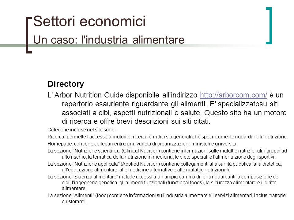 Settori economici Un caso: l'industria alimentare Directory L' Arbor Nutrition Guide disponibile all'indirizzo http://arborcom.com/ è un repertorio es