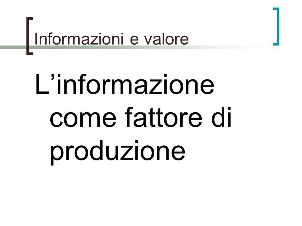 Informazioni e valore Linformazione come fattore di produzione