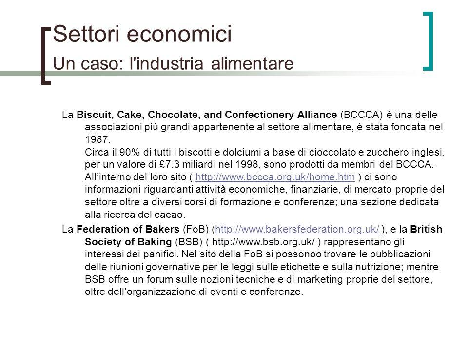 Settori economici Un caso: l'industria alimentare La Biscuit, Cake, Chocolate, and Confectionery Alliance (BCCCA) è una delle associazioni più grandi
