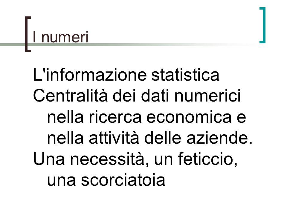 I numeri L'informazione statistica Centralità dei dati numerici nella ricerca economica e nella attività delle aziende. Una necessità, un feticcio, un