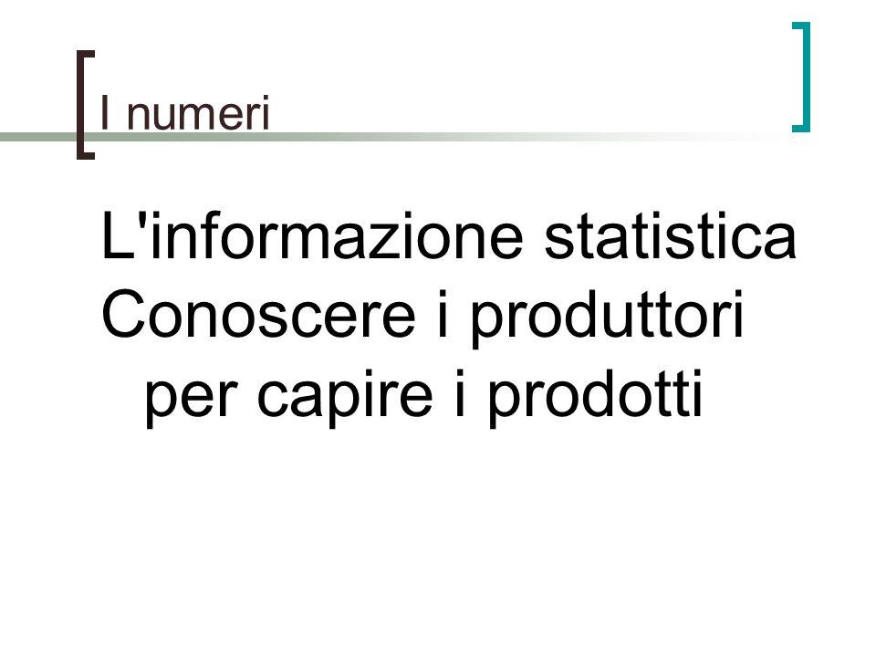 I numeri L'informazione statistica Conoscere i produttori per capire i prodotti
