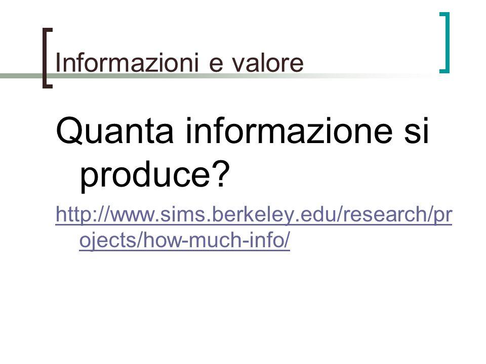 Informazioni e valore Quanta informazione si produce? http://www.sims.berkeley.edu/research/pr ojects/how-much-info/