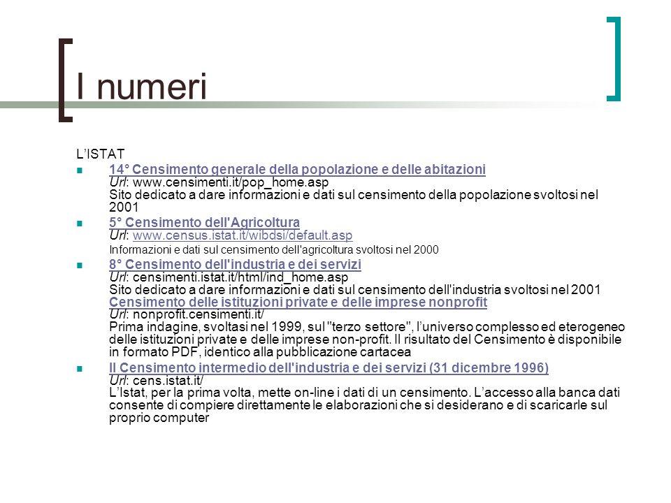 I numeri LISTAT 14° Censimento generale della popolazione e delle abitazioni Url: www.censimenti.it/pop_home.asp Sito dedicato a dare informazioni e d