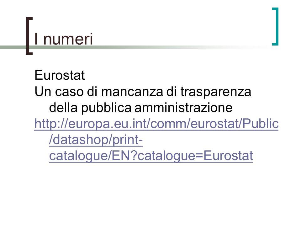 I numeri Eurostat Un caso di mancanza di trasparenza della pubblica amministrazione http://europa.eu.int/comm/eurostat/Public /datashop/print- catalog