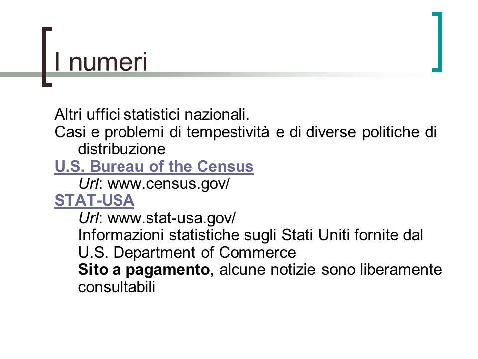 I numeri Altri uffici statistici nazionali. Casi e problemi di tempestività e di diverse politiche di distribuzione U.S. Bureau of the Census U.S. Bur