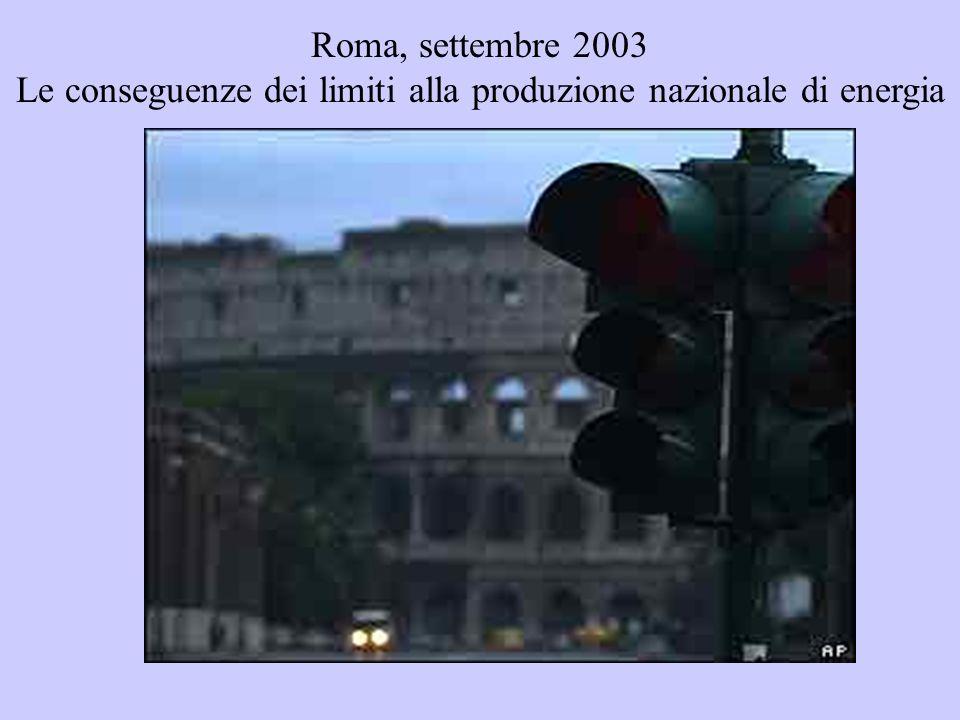 Roma, settembre 2003 Le conseguenze dei limiti alla produzione nazionale di energia