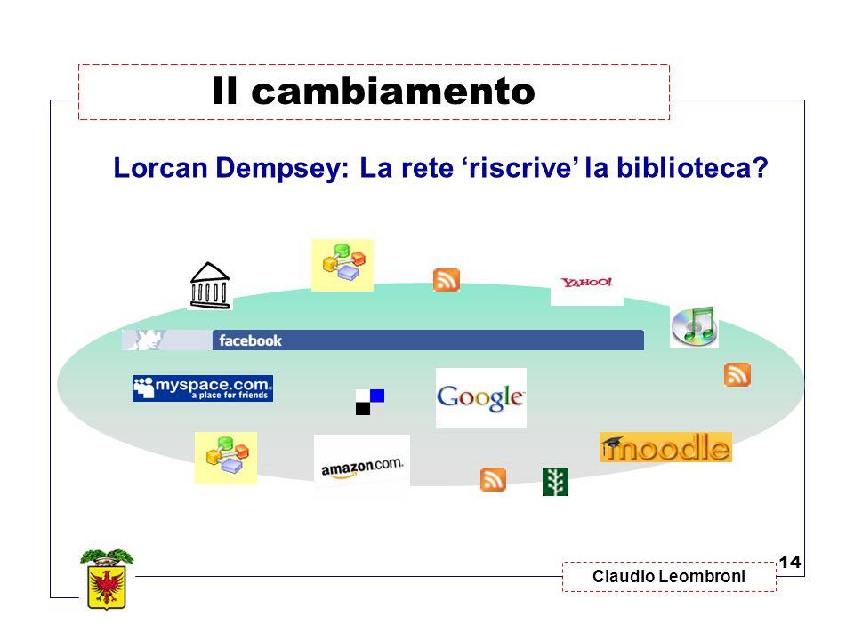 Claudio Leombroni Il cambiamento 14 Lorcan Dempsey: La rete riscrive la biblioteca?