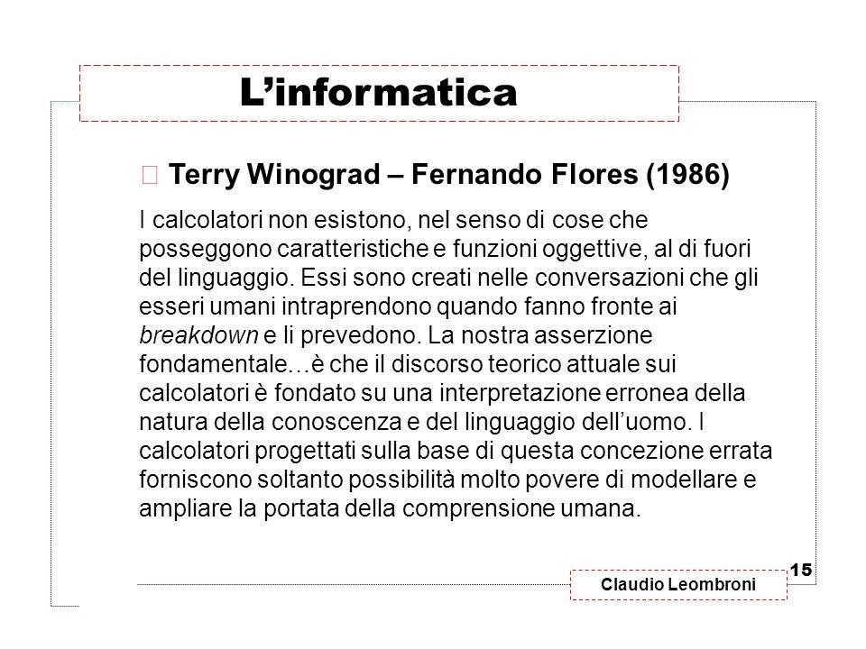 Claudio Leombroni  Terry Winograd – Fernando Flores (1986) I calcolatori non esistono, nel senso di cose che posseggono caratteristiche e funzioni og