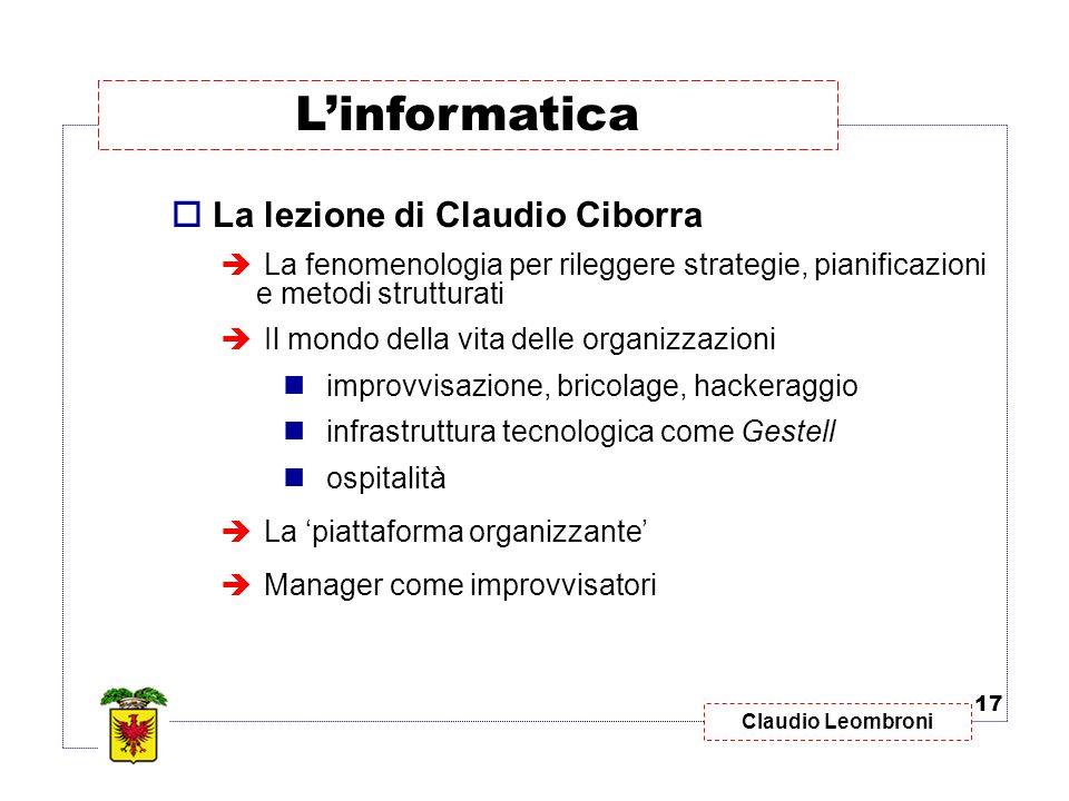 Claudio Leombroni La lezione di Claudio Ciborra La fenomenologia per rileggere strategie, pianificazioni e metodi strutturati Il mondo della vita dell