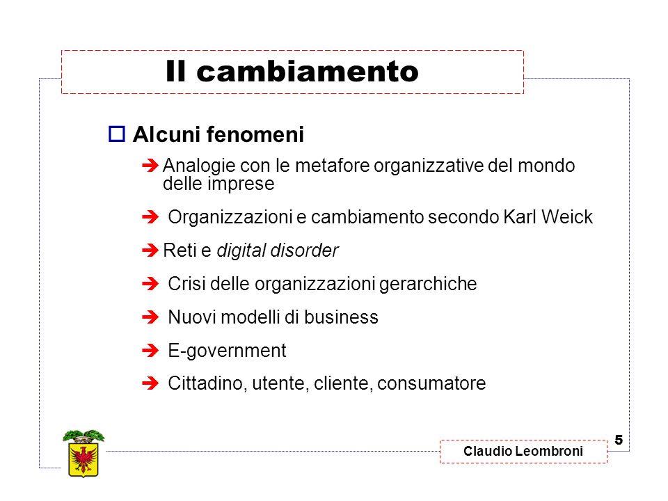 Claudio Leombroni Alcuni fenomeni Analogie con le metafore organizzative del mondo delle imprese Organizzazioni e cambiamento secondo Karl Weick Reti