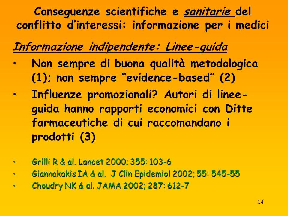14 Conseguenze scientifiche e sanitarie del conflitto dinteressi: informazione per i medici Informazione indipendente: Linee-guida Non sempre di buona qualità metodologica (1); non sempre evidence-based (2) Influenze promozionali.