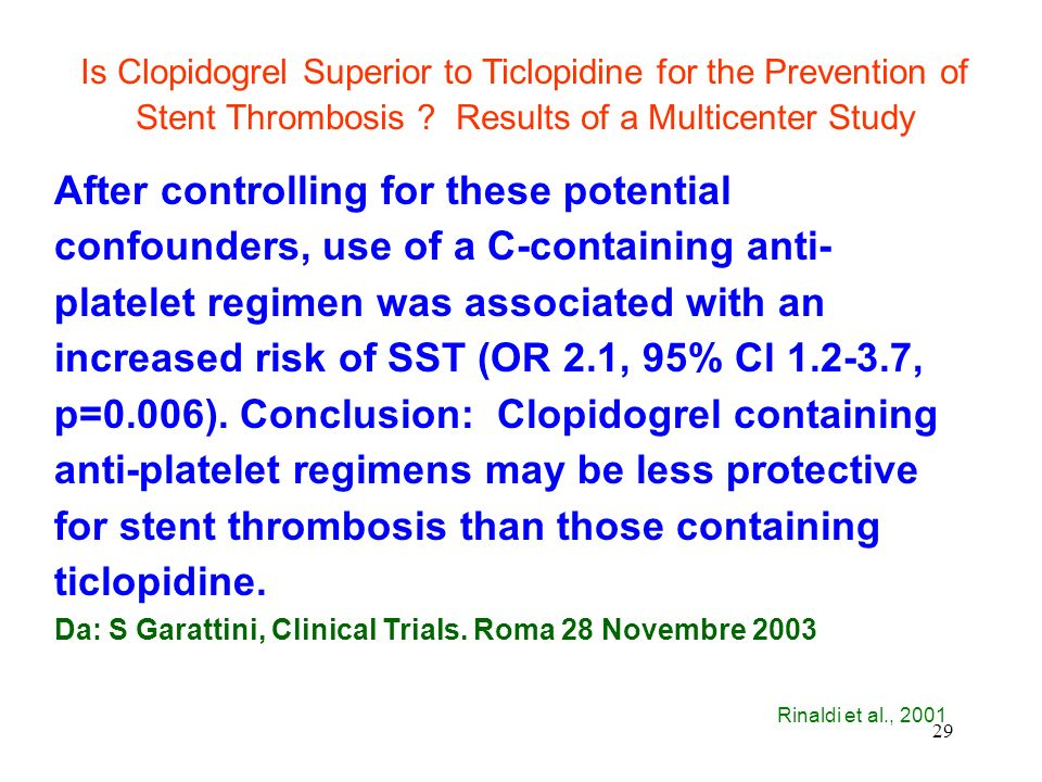 29 Is Clopidogrel Superior to Ticlopidine for the Prevention of Stent Thrombosis .