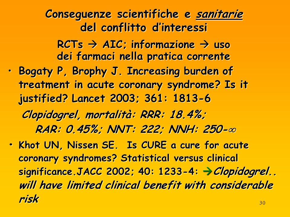 30 Conseguenze scientifiche e sanitarie del conflitto dinteressi RCTs AIC; informazione uso dei farmaci nella pratica corrente Bogaty P, Brophy J.