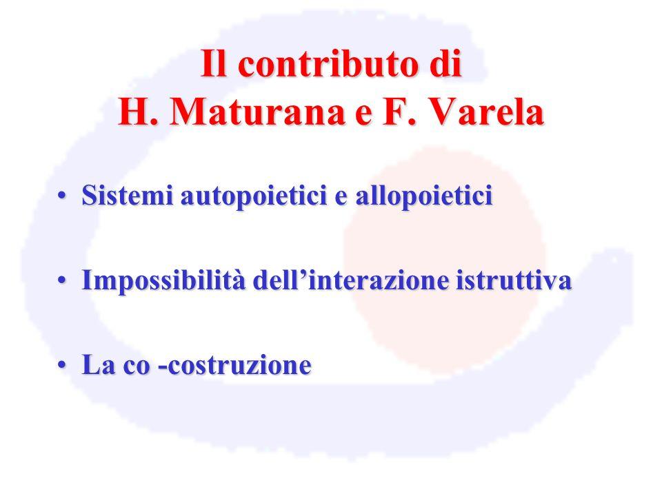 Il contributo di H. Maturana e F. Varela Sistemi autopoietici e allopoieticiSistemi autopoietici e allopoietici Impossibilità dellinterazione istrutti