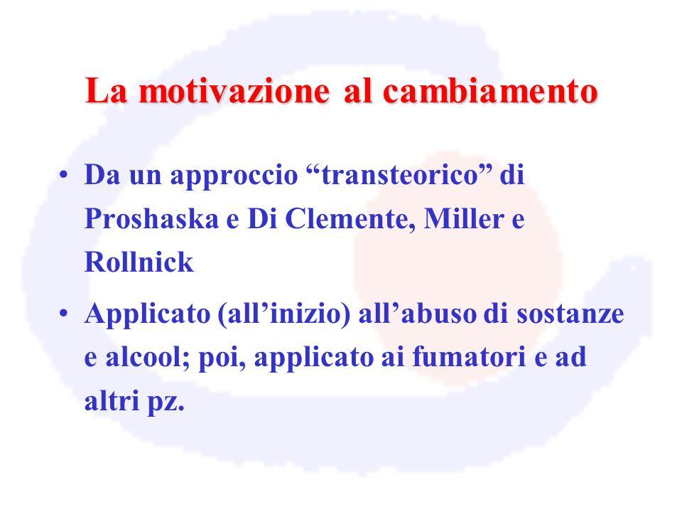 La motivazione al cambiamento Da un approccio transteorico di Proshaska e Di Clemente, Miller e Rollnick Applicato (allinizio) allabuso di sostanze e