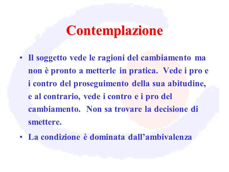 Contemplazione Il soggetto vede le ragioni del cambiamento ma non è pronto a metterle in pratica. Vede i pro e i contro del proseguimento della sua ab