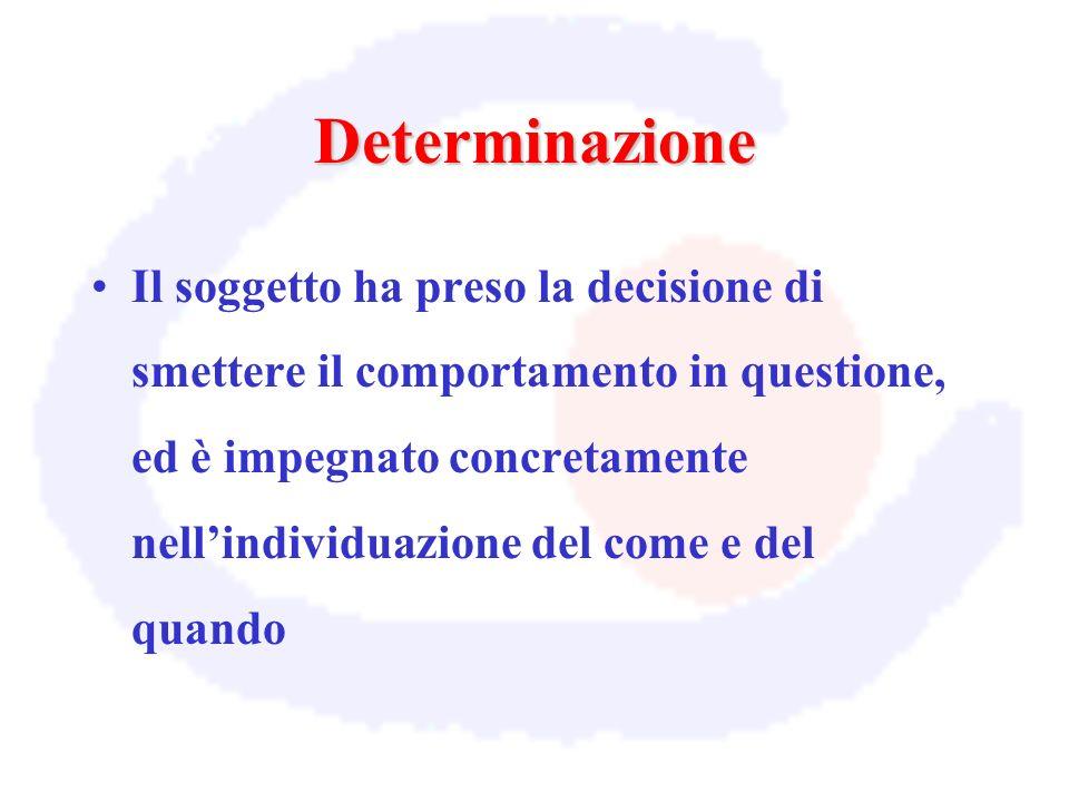 Determinazione Il soggetto ha preso la decisione di smettere il comportamento in questione, ed è impegnato concretamente nellindividuazione del come e