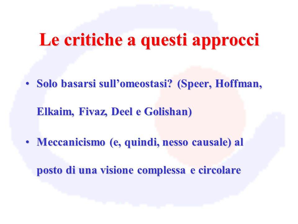 Le critiche a questi approcci Solo basarsi sullomeostasi? (Speer, Hoffman, Elkaim, Fivaz, Deel e Golishan)Solo basarsi sullomeostasi? (Speer, Hoffman,