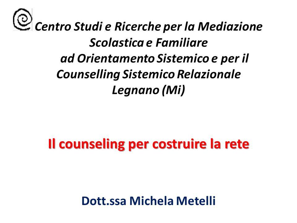 Centro Studi e Ricerche per la Mediazione Scolastica e Familiare ad Orientamento Sistemico e per il Counselling Sistemico Relazionale Legnano (Mi) Il counseling per costruire la rete Dott.ssa Michela Metelli