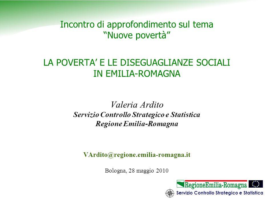 Servizio Controllo Strategico e Statistica 12 1.Adotta un concetto di povertà relativa 2.lindicatore su cui basa le misure di povertà è il reddito 3.lunità di analisi è lindividuo 4.la soglia di povertà è pari al 60% del valore mediano dei redditi familiari equivalenti.