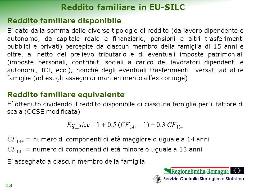 Servizio Controllo Strategico e Statistica 13 Reddito familiare in EU-SILC Reddito familiare disponibile E dato dalla somma delle diverse tipologie di