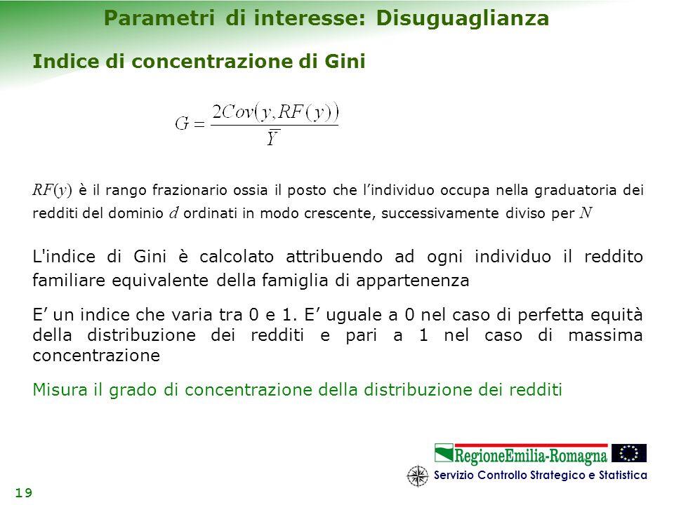 Servizio Controllo Strategico e Statistica 19 Parametri di interesse: Disuguaglianza Indice di concentrazione di Gini RF(y) è il rango frazionario oss