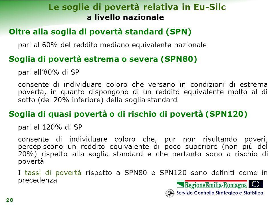 Servizio Controllo Strategico e Statistica 28 a livello nazionale Oltre alla soglia di povertà standard (SPN) pari al 60% del reddito mediano equivale