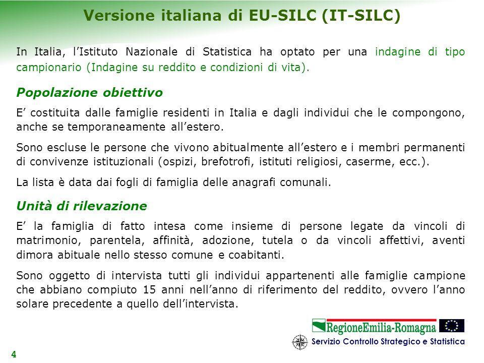 Servizio Controllo Strategico e Statistica 4 Versione italiana di EU-SILC (IT-SILC) In Italia, lIstituto Nazionale di Statistica ha optato per una ind