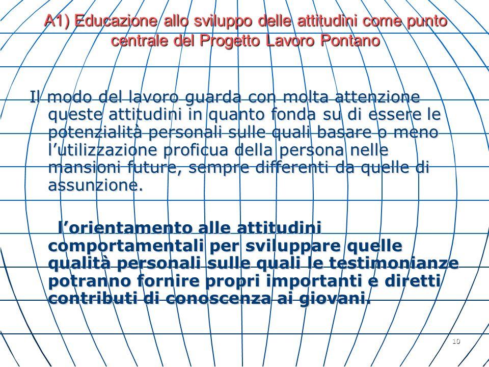 10 A1) Educazione allo sviluppo delle attitudini come punto centrale del Progetto Lavoro Pontano Il modo del lavoro guarda con molta attenzione queste
