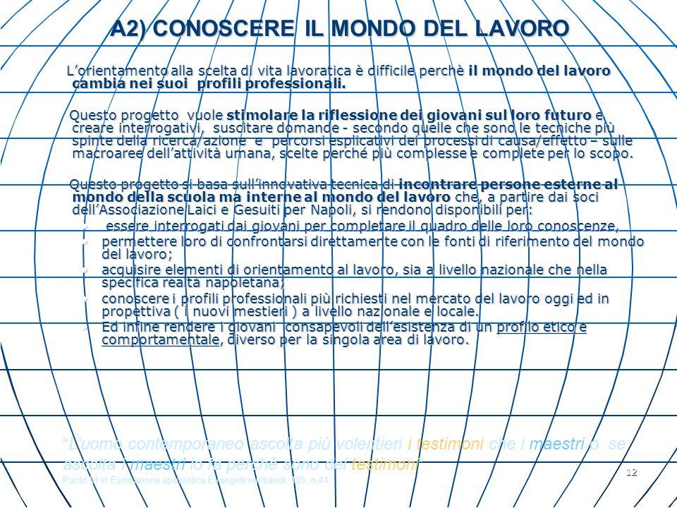 12 A2) CONOSCERE IL MONDO DEL LAVORO Lorientamento alla scelta di vita lavoratica è difficile perchè il mondo del lavoro cambia nei suoi profili profe