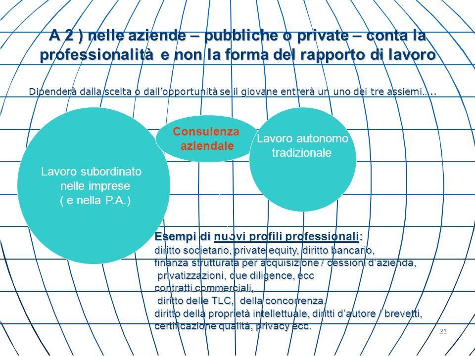 21 A 2 ) nelle aziende – pubbliche o private – conta la professionalità e non la forma del rapporto di lavoro Dipenderà dalla scelta o dallopportunità