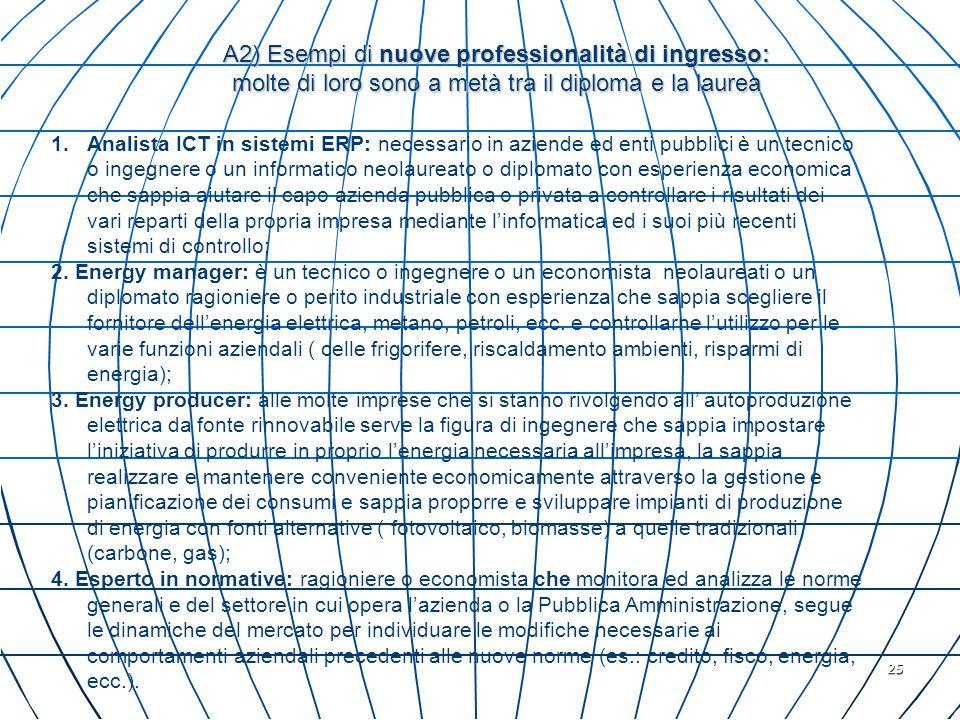 25 A2) Esempi di nuove professionalità di ingresso: molte di loro sono a metà tra il diploma e la laurea 1.Analista ICT in sistemi ERP: necessario in