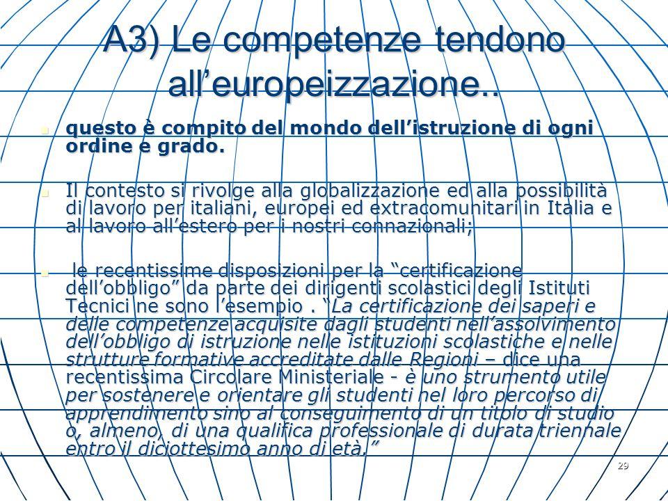 29 A3) Le competenze tendono alleuropeizzazione.. questo è compito del mondo dellistruzione di ogni ordine e grado. questo è compito del mondo dellist