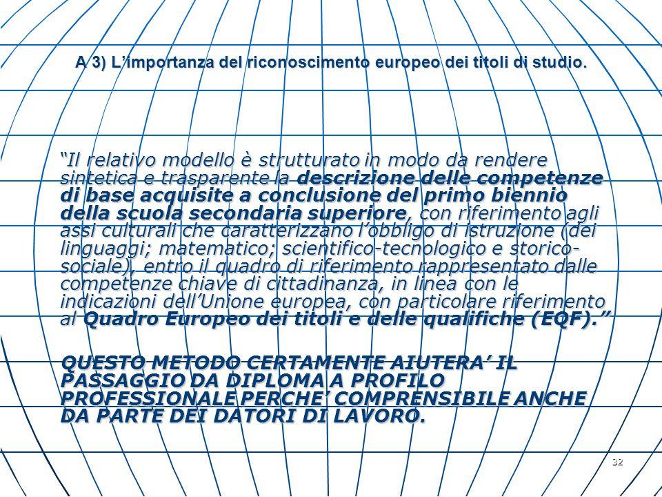 32 A 3) Limportanza del riconoscimento europeo dei titoli di studio. Il relativo modello è strutturato in modo da rendere sintetica e trasparente la d
