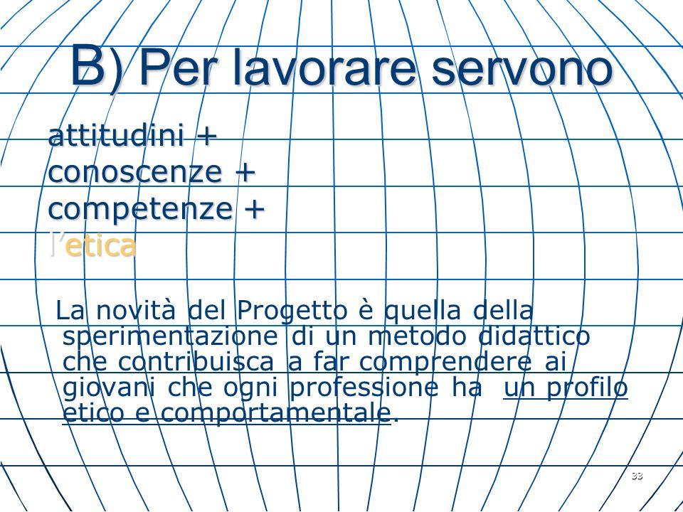 33 B ) Per lavorare servono attitudini + attitudini + conoscenze + conoscenze + competenze + competenze + letica letica La novità del Progetto è quell