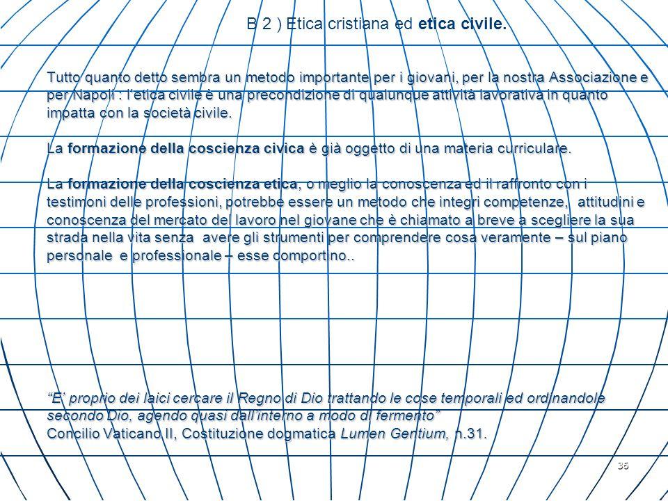 36 Tutto quanto detto sembra un metodo importante per i giovani, per la nostra Associazione e per Napoli : letica civile è una precondizione di qualun