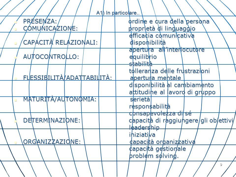 9 A1) In particolare.. PRESENZA: ordine e cura della persona PRESENZA: ordine e cura della persona COMUNICAZIONE: proprietà di linguaggio COMUNICAZION