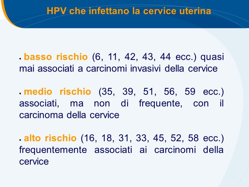 basso rischio (6, 11, 42, 43, 44 ecc.) quasi mai associati a carcinomi invasivi della cervice medio rischio (35, 39, 51, 56, 59 ecc.) associati, ma non di frequente, con il carcinoma della cervice alto rischio (16, 18, 31, 33, 45, 52, 58 ecc.) frequentemente associati ai carcinomi della cervice HPV che infettano la cervice uterina