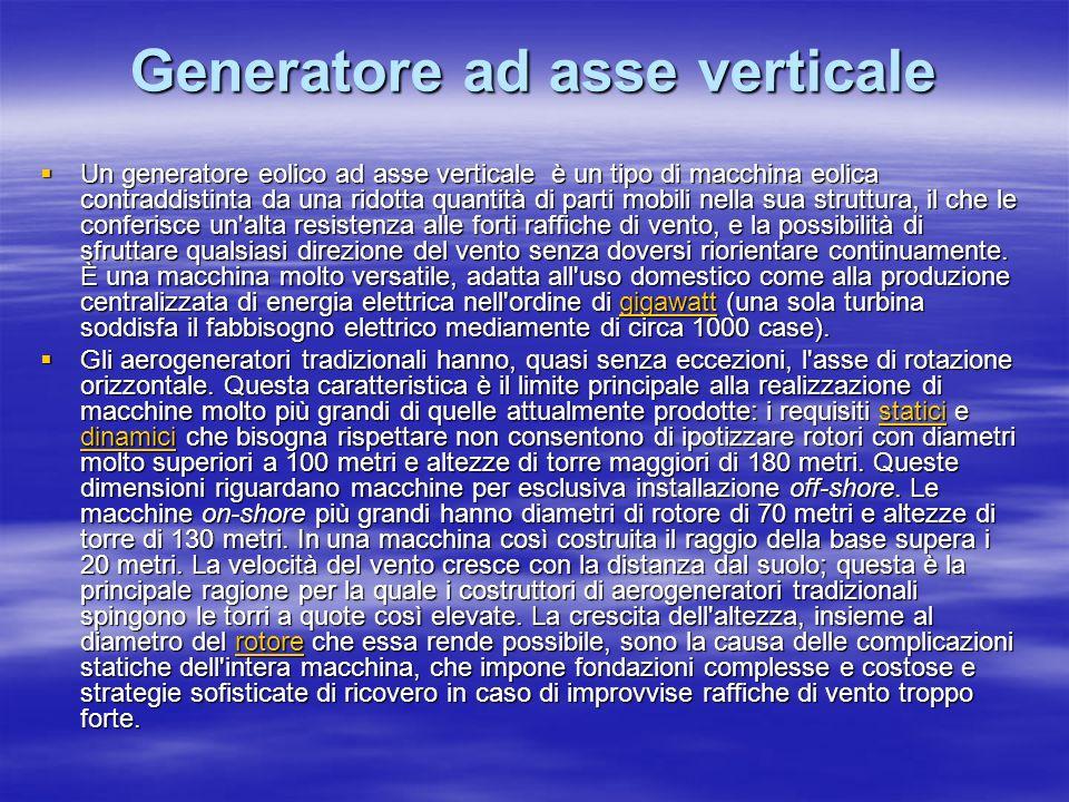 Generatore ad asse verticale Un generatore eolico ad asse verticale è un tipo di macchina eolica contraddistinta da una ridotta quantità di parti mobi