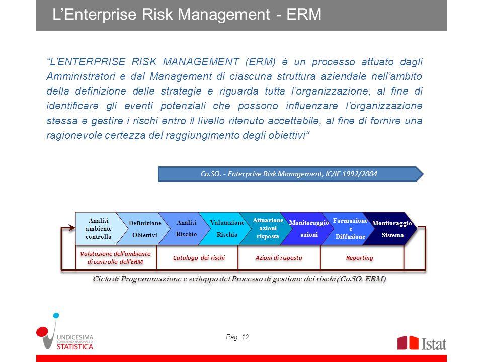Pag. 12 LEnterprise Risk Management - ERM LENTERPRISE RISK MANAGEMENT (ERM) è un processo attuato dagli Amministratori e dal Management di ciascuna st