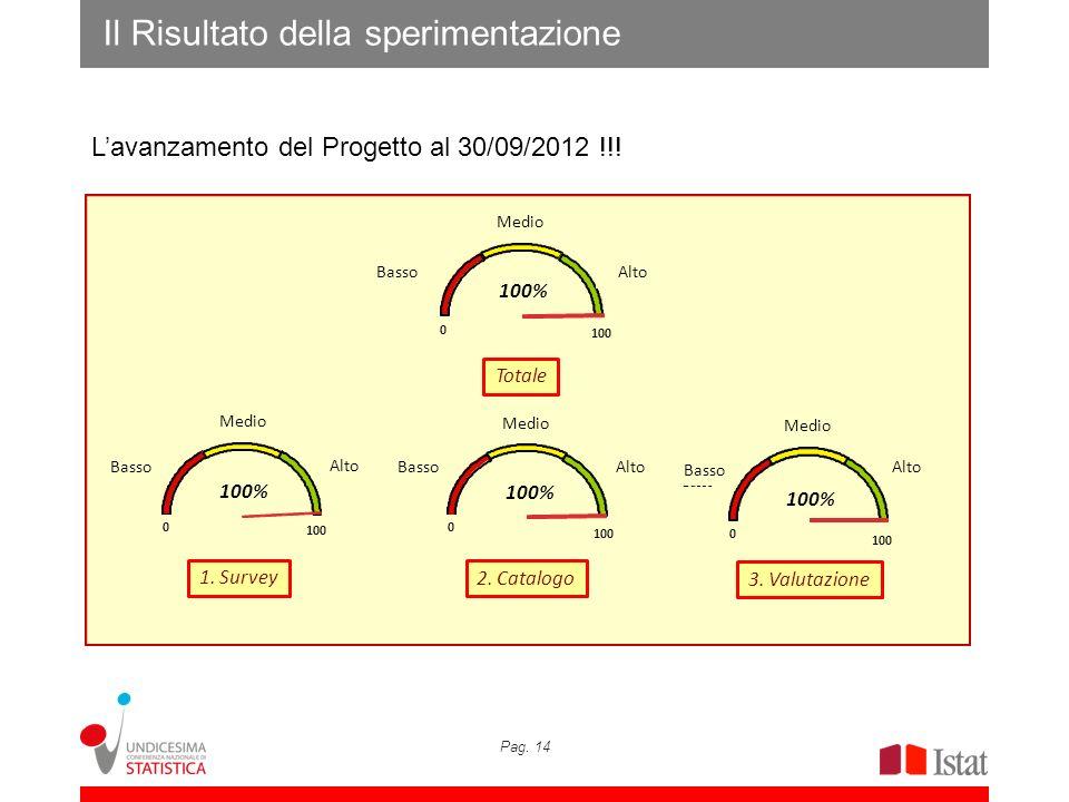Pag. 14 Il Risultato della sperimentazione Lavanzamento del Progetto al 30/09/2012 !!! ISTAT: 99,4% Alto Medio Basso 0 100 100% Basso Medio Alto Valut