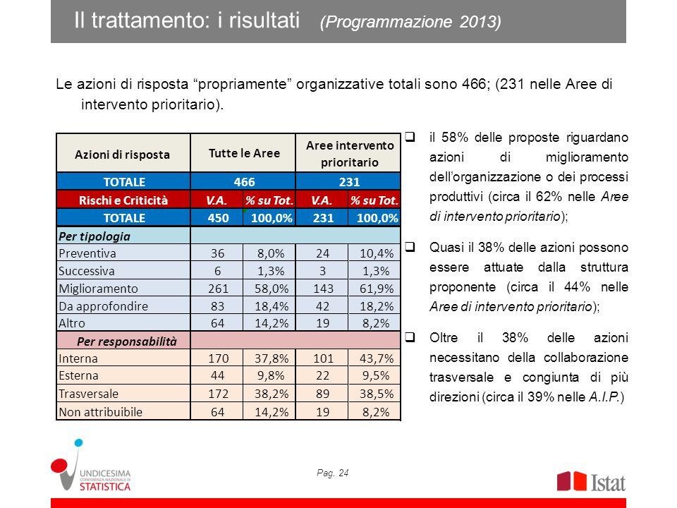 Pag. 24 Il trattamento: i risultati (Programmazione 2013) Le azioni di risposta propriamente organizzative totali sono 466; (231 nelle Aree di interve