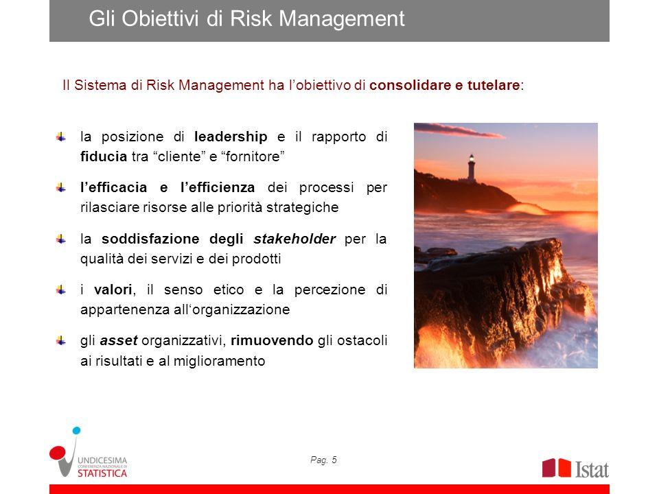 Pag. 5 Gli Obiettivi di Risk Management la posizione di leadership e il rapporto di fiducia tra cliente e fornitore lefficacia e lefficienza dei proce