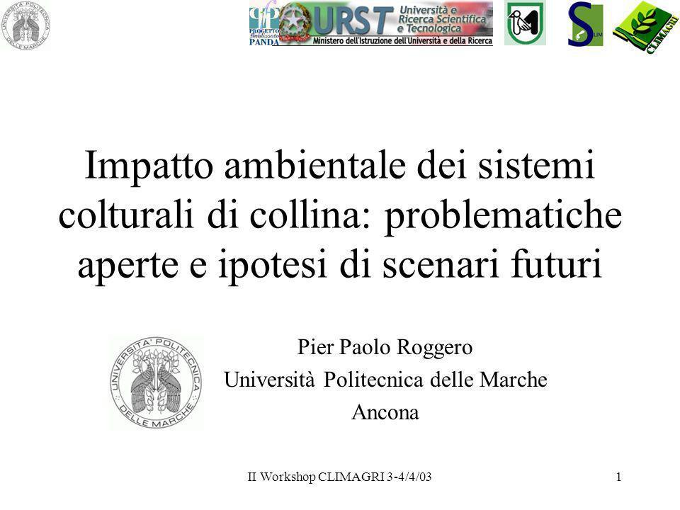 II Workshop CLIMAGRI 3-4/4/031 Impatto ambientale dei sistemi colturali di collina: problematiche aperte e ipotesi di scenari futuri Pier Paolo Rogger