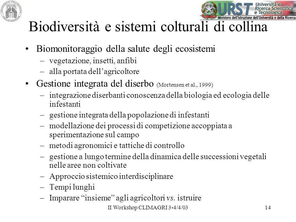 II Workshop CLIMAGRI 3-4/4/0314 Biodiversità e sistemi colturali di collina Biomonitoraggio della salute degli ecosistemi –vegetazione, insetti, anfib